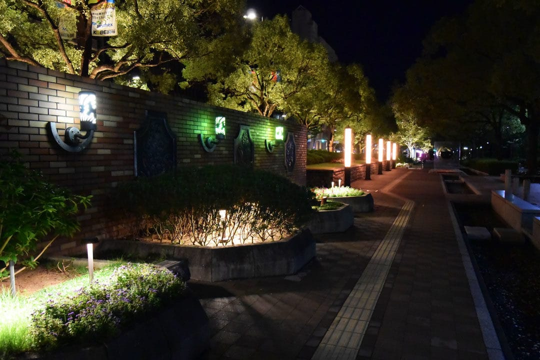 Kobe East Park at night